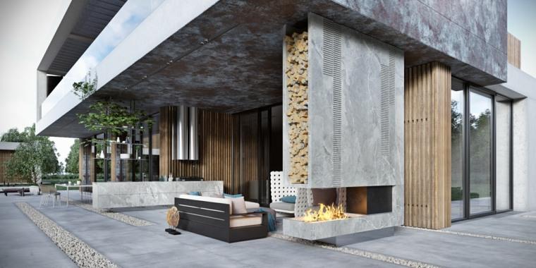 ideas para decorar jardin chimenea exterior diseno contemporaneo opciones