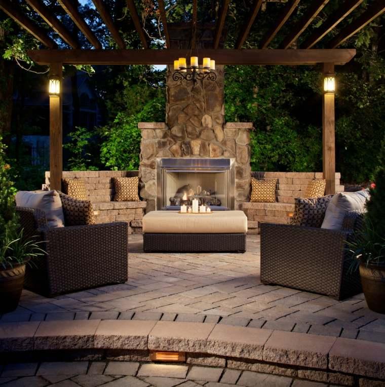 ideas para decorar jardin chimenea exterior diseno tradicional moderno