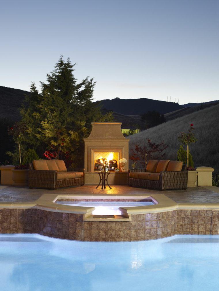 ideas para decorar jardin chimenea exterior estilo romantico moderno