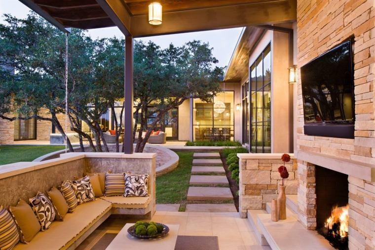 ideas para decorar jardin chimenea exterior opciones ideas