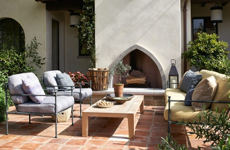 ideas para decorar jardin chimenea exterior original diseno moderno