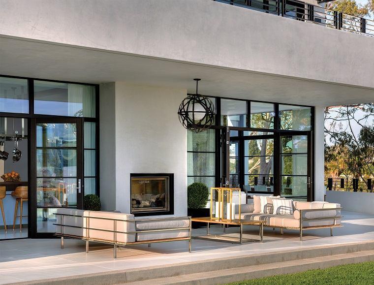 ideas para decorar jardin chimenea exterior patio moderno opciones