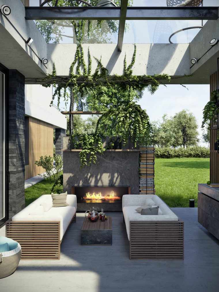 ideas para decorar jardin chimenea exterior plantas pergola moderno