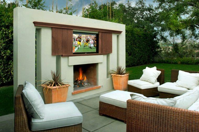 Ideas para decorar el jard n con chimenea al aire libre - Muebles jardin exterior ...