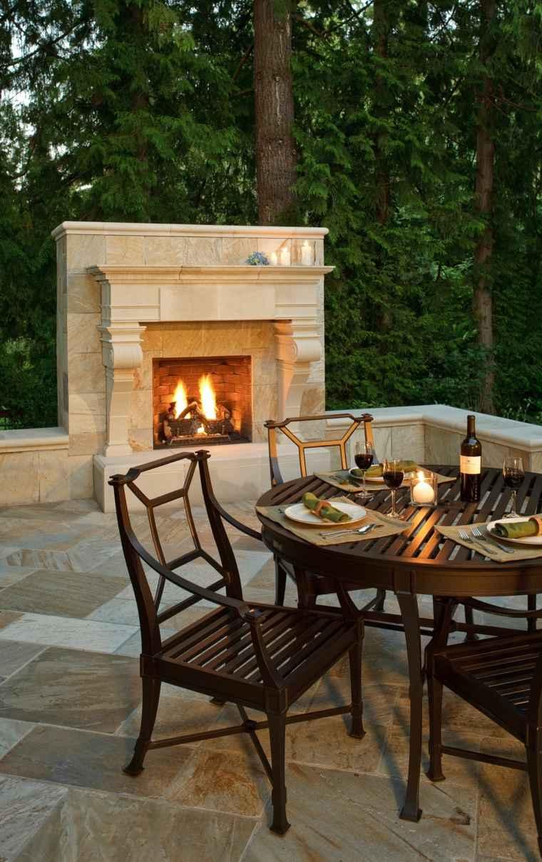 decorar terraza chimenea opciones estilo ideas