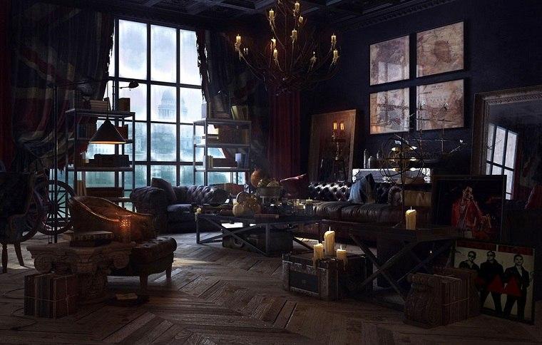 sala de estar steampunk