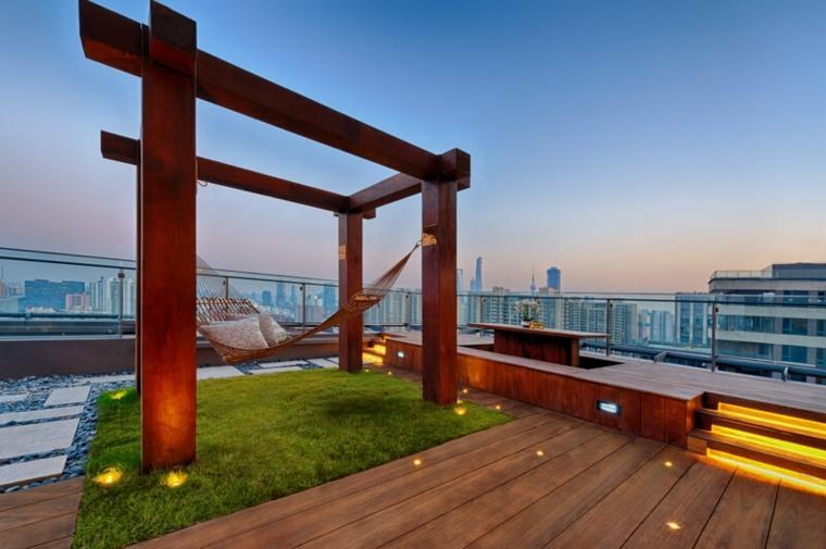 terraza lujosa con hamaca