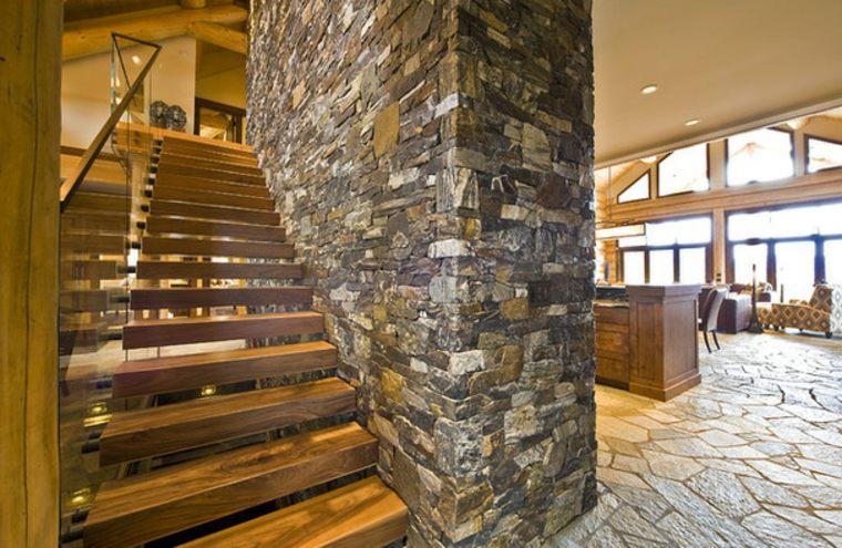 Escaleras Rusticas De Piedra Y Madera Mas De 35 Disenos Fantasticos - Escaleras-rusticas-de-interior