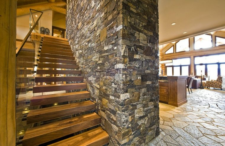 Escaleras r sticas de piedra y madera 34 dise os for Escalera interior de troncos