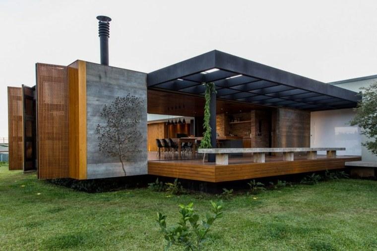 interiores de casas diseño hormigon madera metales