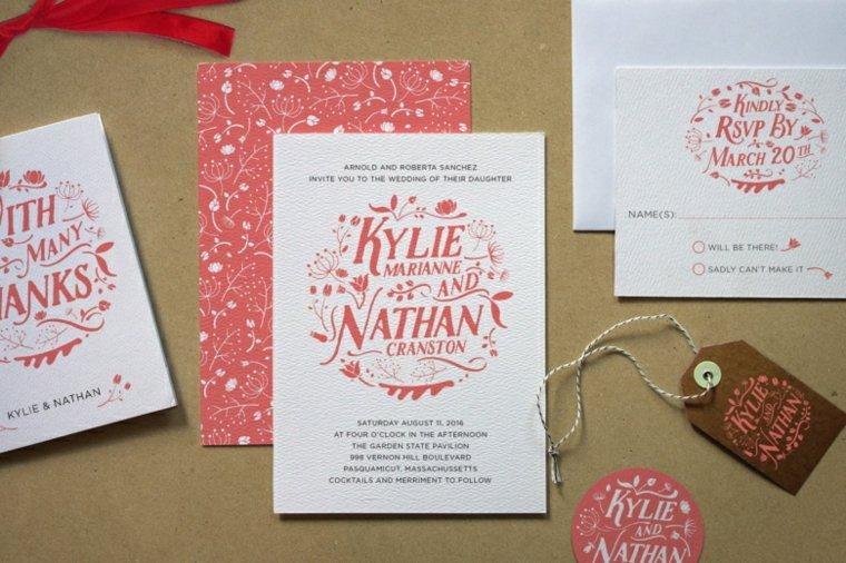 invitaciones de boda flores inspiracion letras