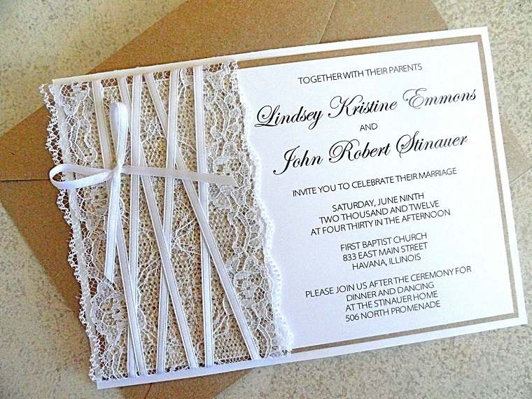 invitaciones de boda originales detalles encaje blanco moderno ideas