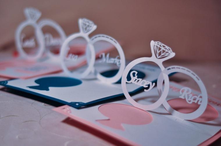invitaciones de boda originales diseno detalle anillos papel ideas