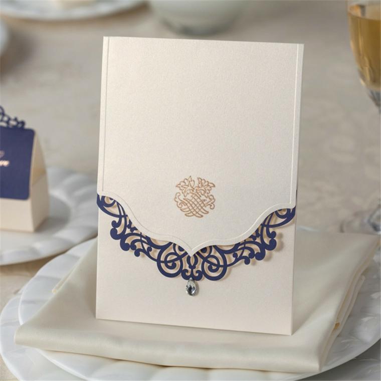 invitaciones de boda originales diseno diamante detalle lujoso ideas