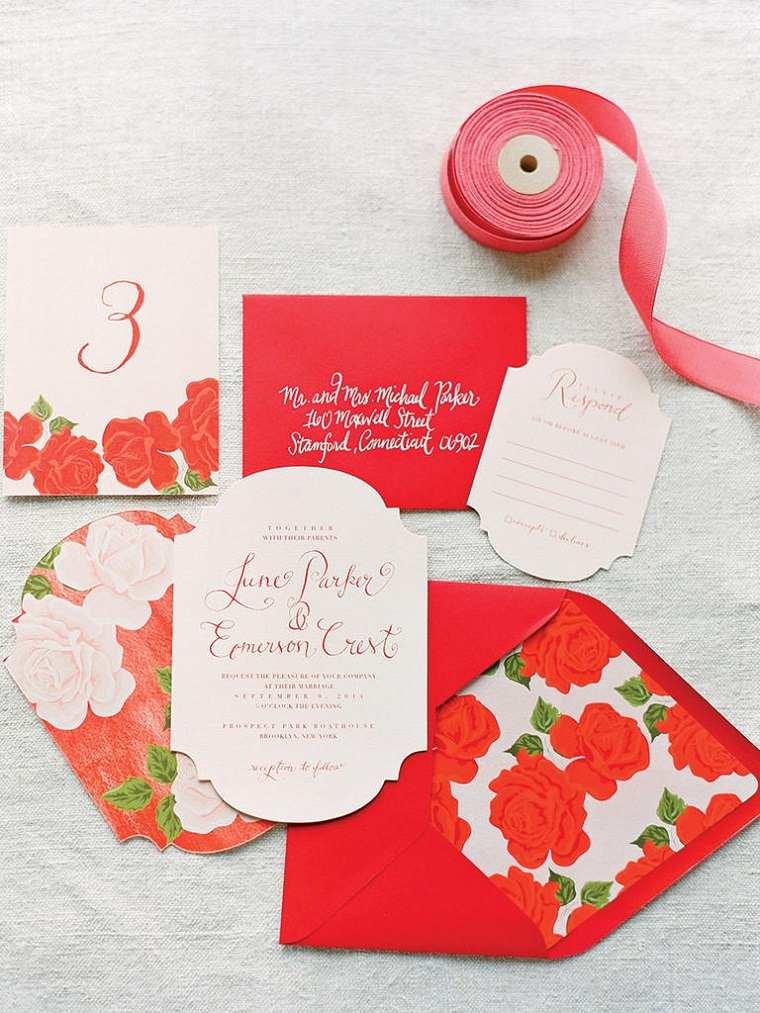 invitaciones de boda originales diseno estampa rosas ideas