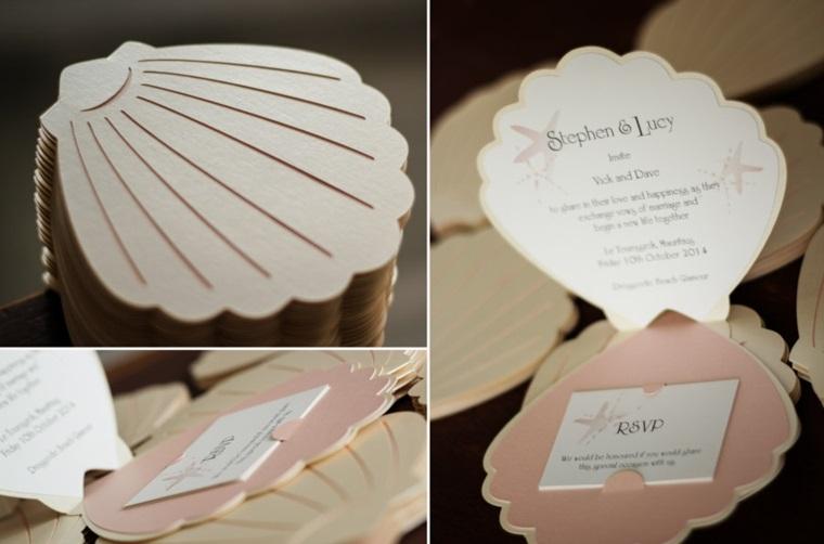 invitaciones de boda originales forma atractiva concha ideas