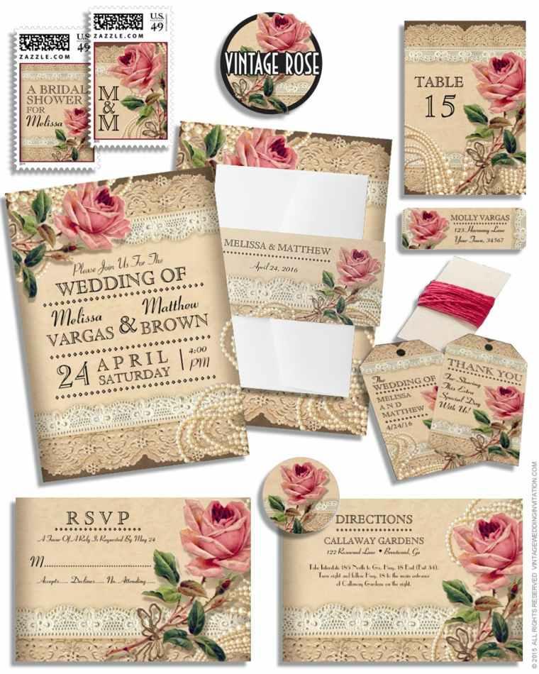 invitaciones de boda vintage para una ceremonia retro