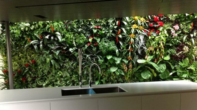 jardin vertical fondo cocina estilos conceptos