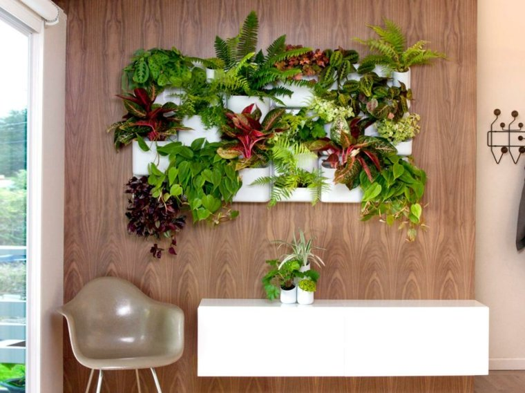 jardin vertical madera fondo paredes adornos
