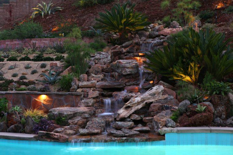 jardín piscina terrazas plantas