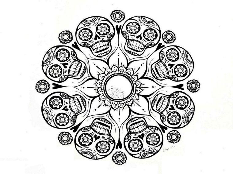 Mandala calaveras Catrina
