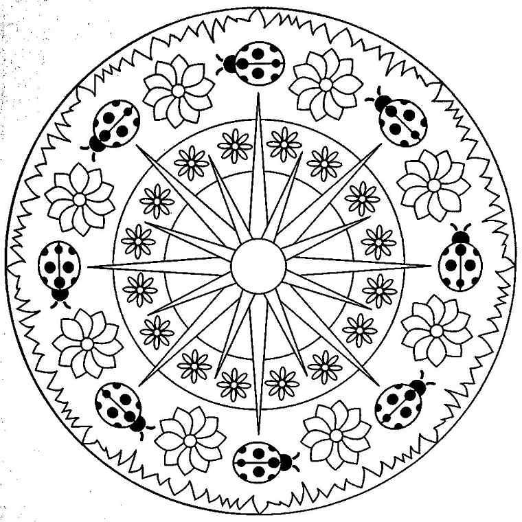 Mandala flores mariquitas