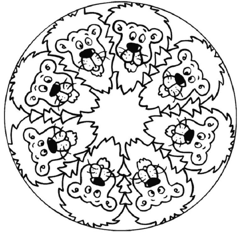 Mandala caras leones