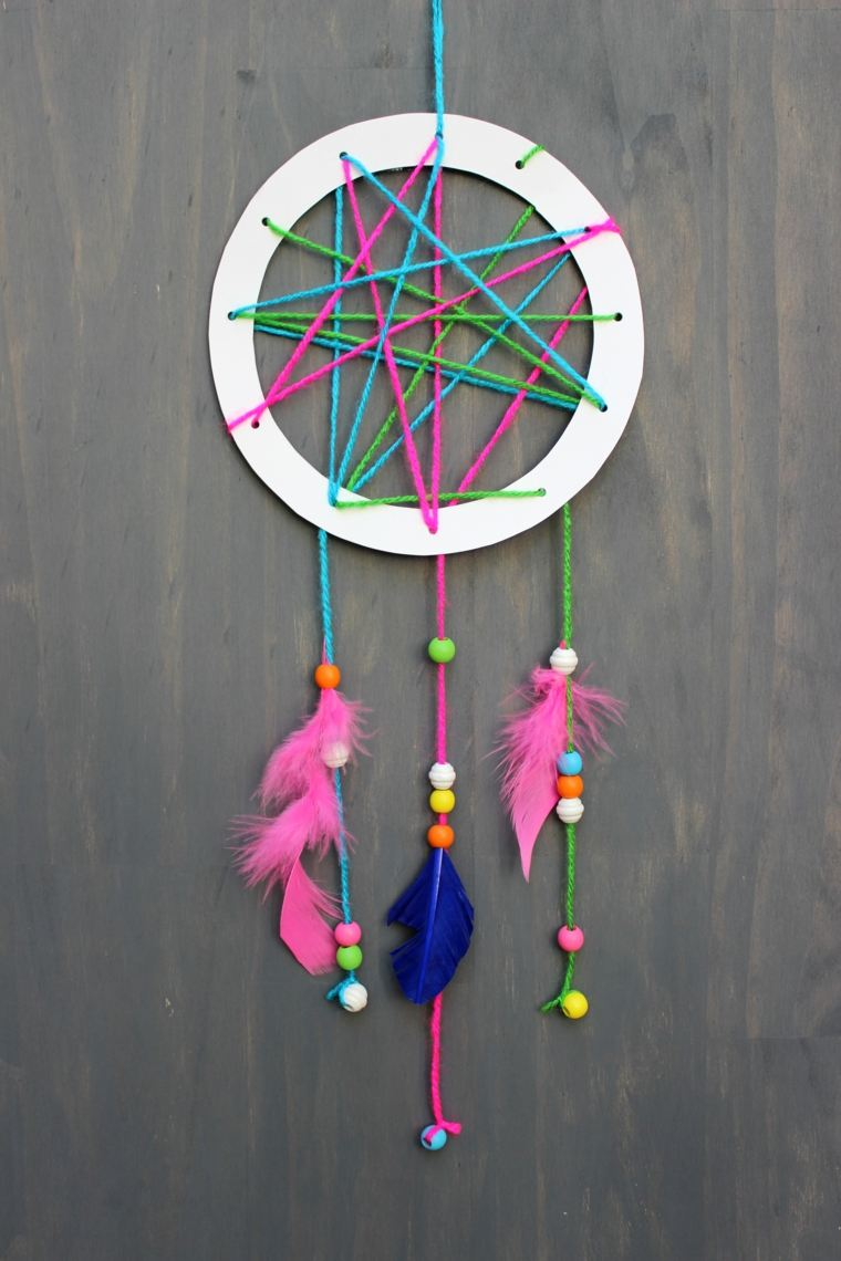 manualidades para niños atrapa suenos coloridos