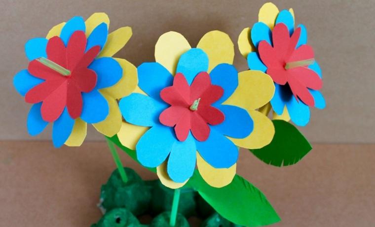manualidades para niños diseño flores papel esferas