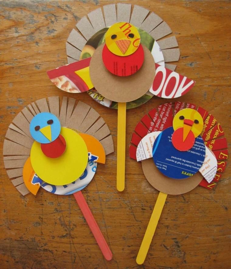 manualidades para niños diseño pavos amarillo pinceles