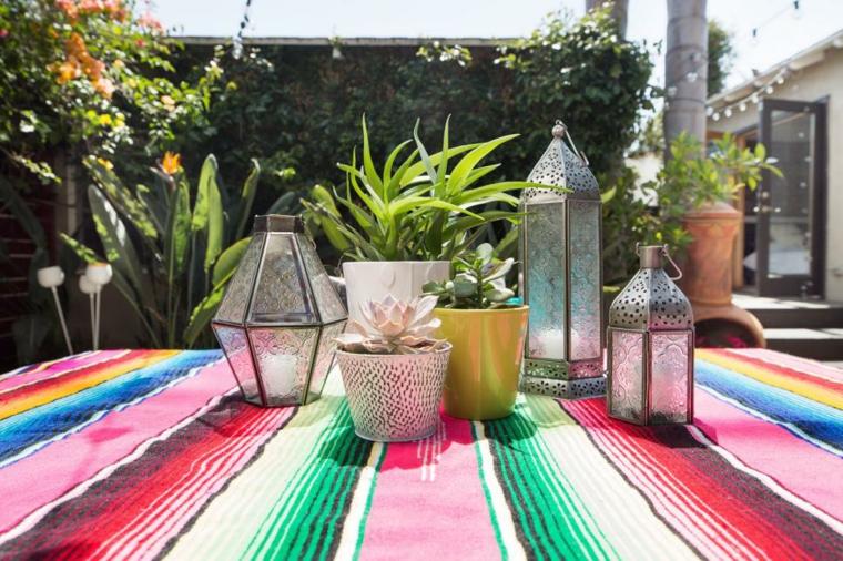 mesa decoraciones suculentas salones coloridas