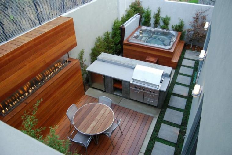 mesa madera empotradas ambientes plantas