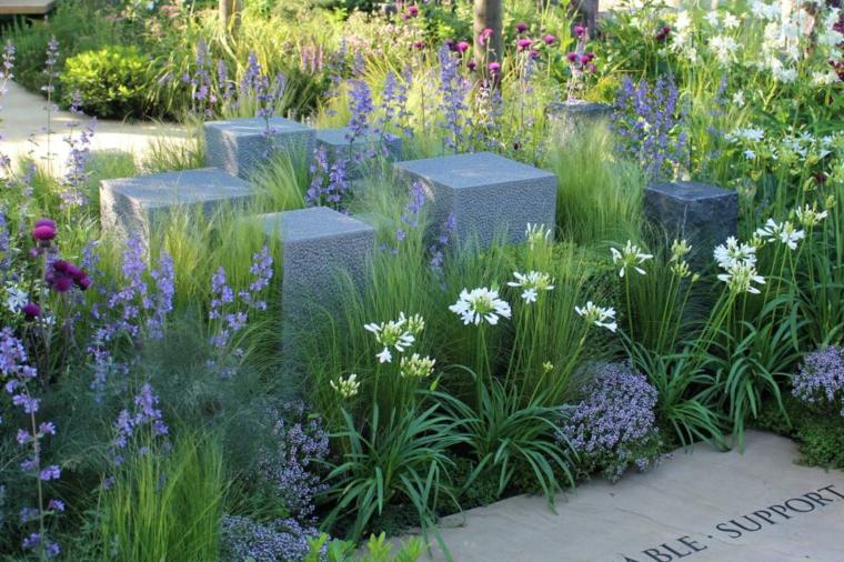 naturales concreto piezas hormigon muros flores