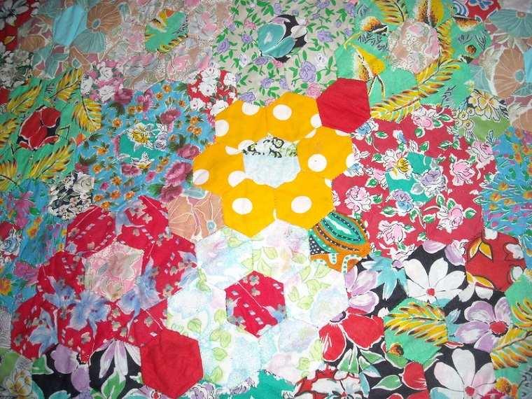 original colcha patchwork hexágonos