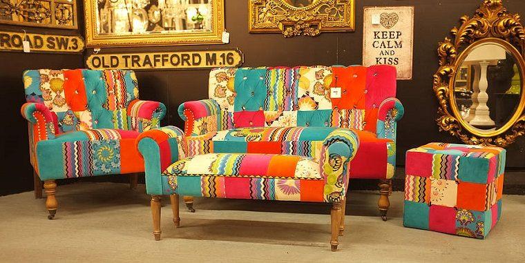 conjunto sofás patchwork