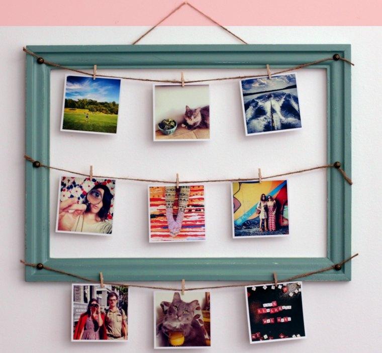 marco fotos colgadas pinzas