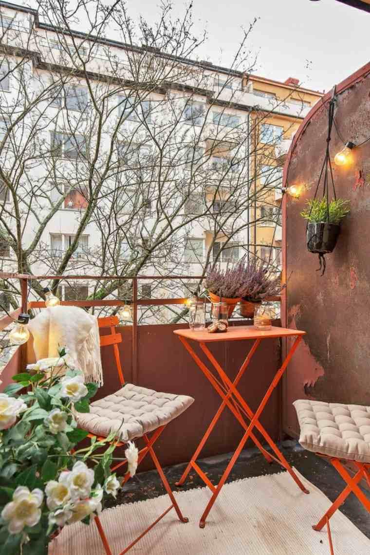 original conjunto muebles terraza rojos