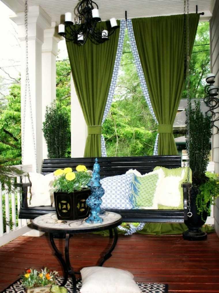 terraza cortinas verdes