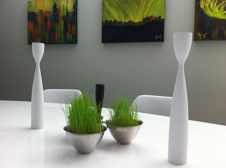 centro mesa hierba