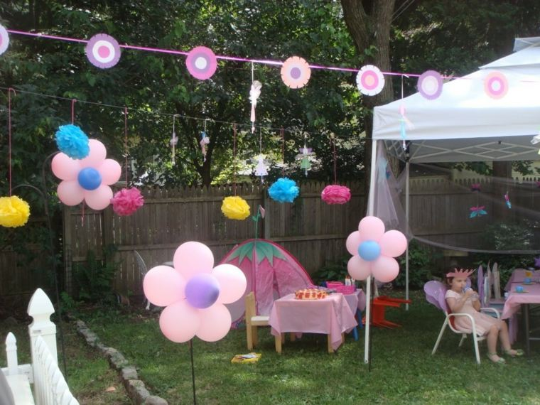patio decoraciones globos rosa pendientes