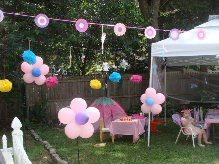 patio decoraciones globos rosa pendientes