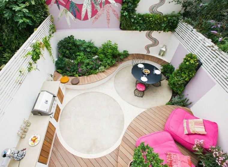patio diseño especial tono rosa condiciones