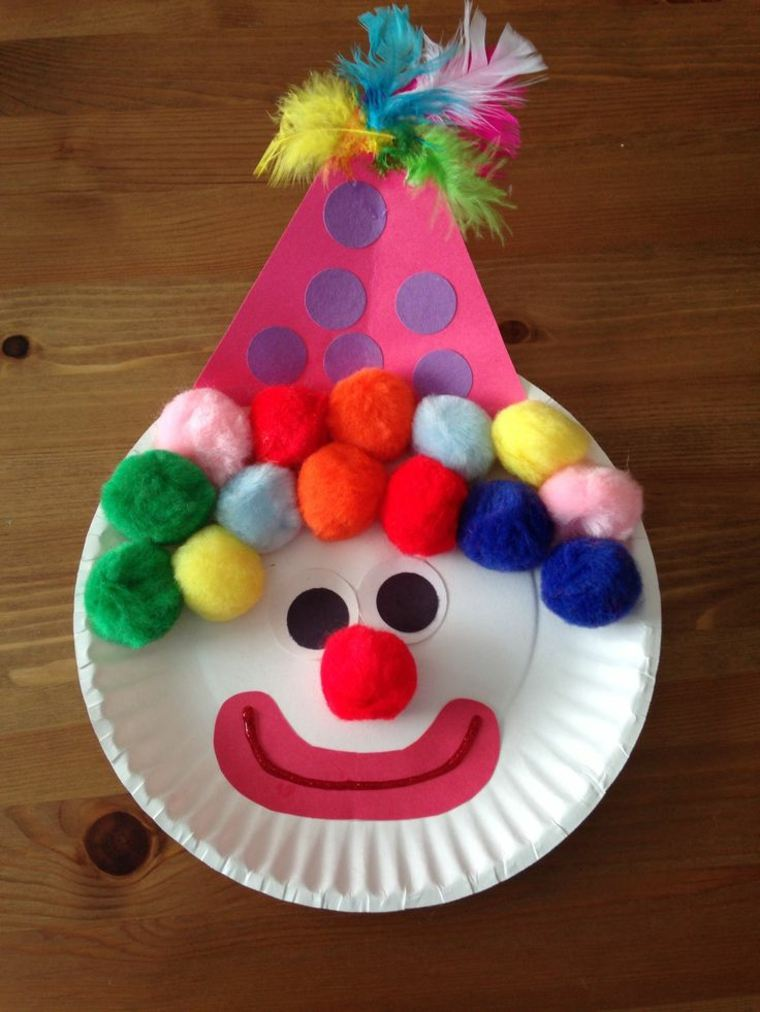 payaso plato blanco especiales bolas colores