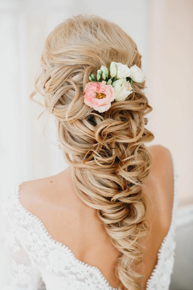 peinados boda elegante flores bellas ideas