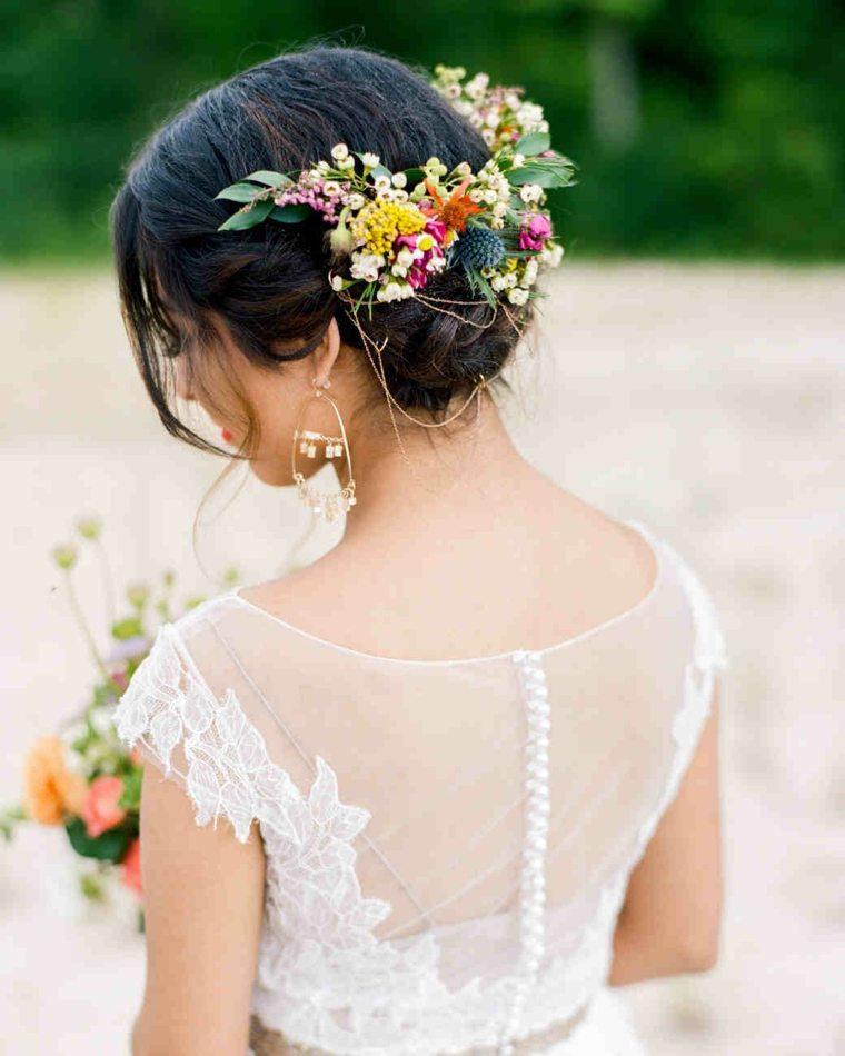 peinados boda elegante flores silvestres boda ideas