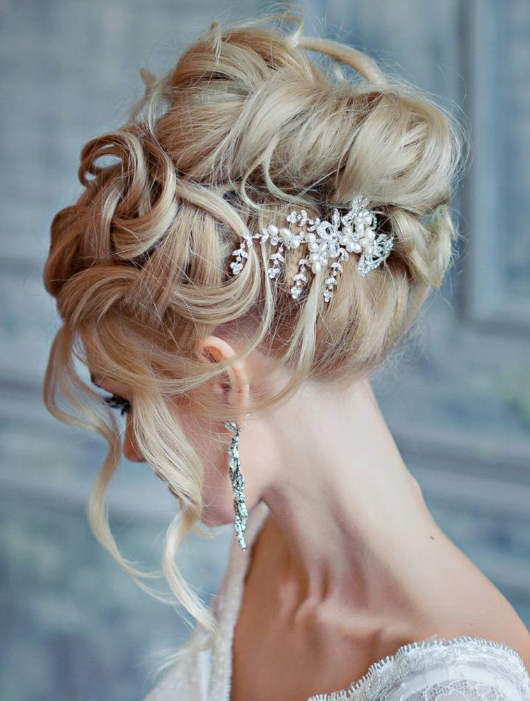 peinados boda elegante joyas mono alto ideas