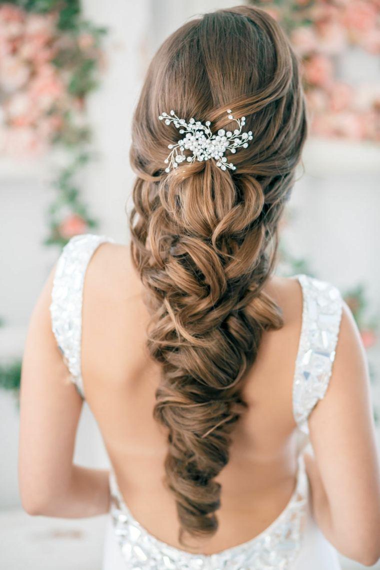 peinados boda elegante pelo largo joya ideas