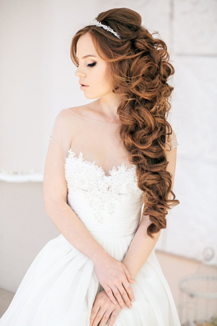 peinados boda elegante rizos pelo largo ideas