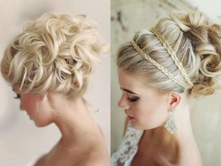 peinados boda elegante trenzas mono rizado ideas