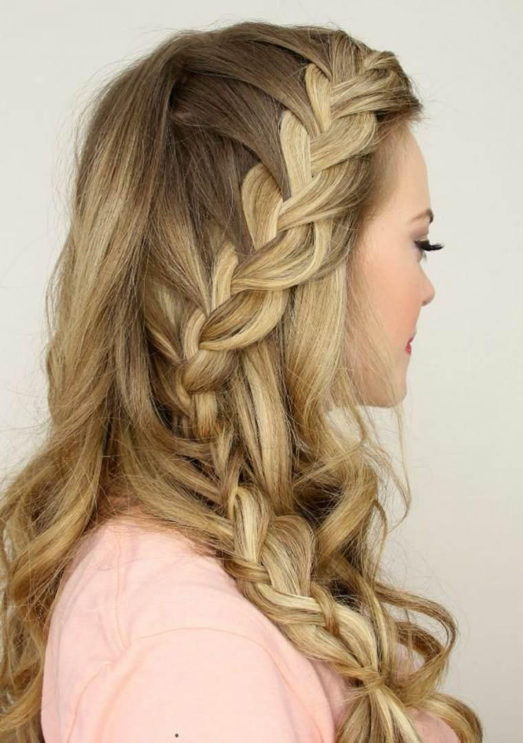 Peinados con trenzas de lado y pelo suelto for Disenos de pelo